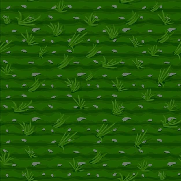 Hierba de patrones sin fisuras, fondo de campo verde para fondo de pantalla. ilustración de textura de agricultura con camas para el juego.