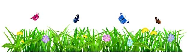 Hierba verde con flores y mariposas sobre fondo blanco.