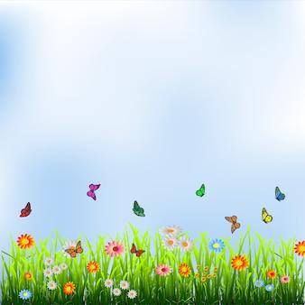 Hierba verde, flores y mariposas