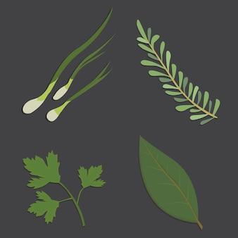 Hierbas aromáticas en diseño plano