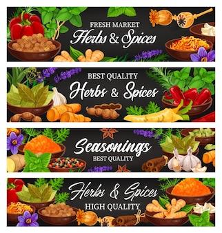 Hierbas y especias, condimentos para alimentos frescos y pancartas de dibujos animados de condimentos