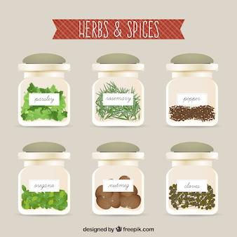 Hierbas y especias dentro de las botellas