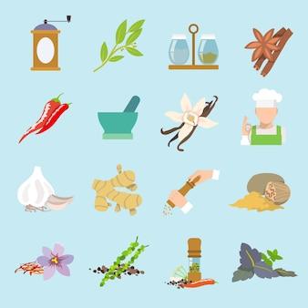 Hierbas y especias plana iconos conjunto de jengibre chile pimiento ajo aislado ilustración vectorial.