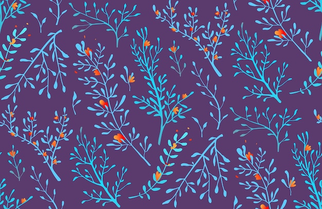 Hierbas silvestres románticas florales y hierbas de fondo transparente.
