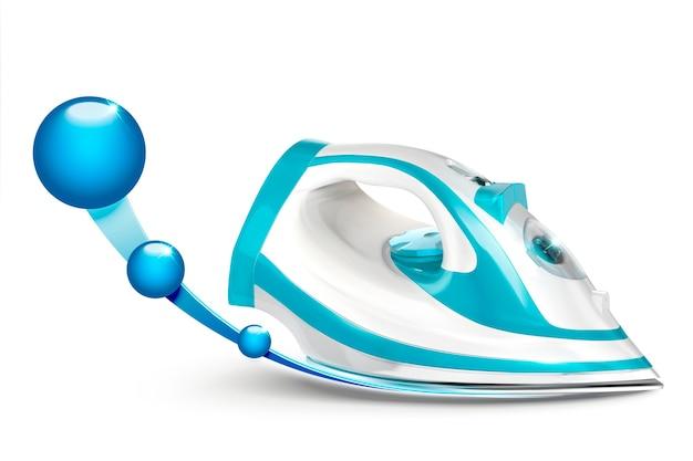 Hierro de diseño azul y blanco con efecto de esfera brillante