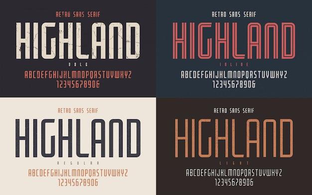 Highland condensado negrita en línea regular y retro ligero