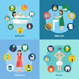 Higiene 4 iconos planos composición cuadrada