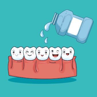 Higiene de los dientes asistencia sanitaria con enjuague bucal