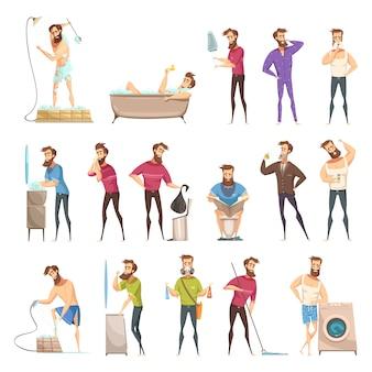 Higiene masculina en estilo retro de dibujos animados con una persona barbuda en diversas actividades de limpieza