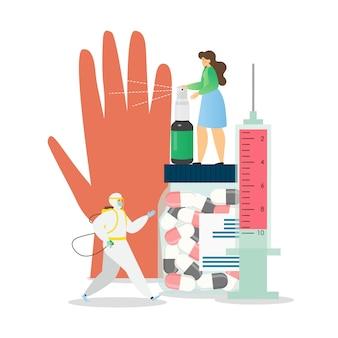 Higiene personal y desinfección, medidas de prevención de coronavirus, ilustración plana