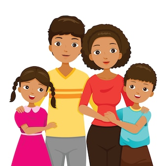 Hija e hijo abrazando a sus padres, familia con piel oscura felices juntos
