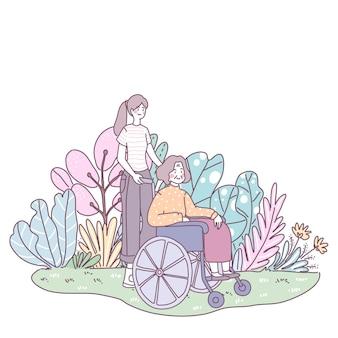 La hija lleva a la madre a sentarse en wilshere. sal a caminar por el césped
