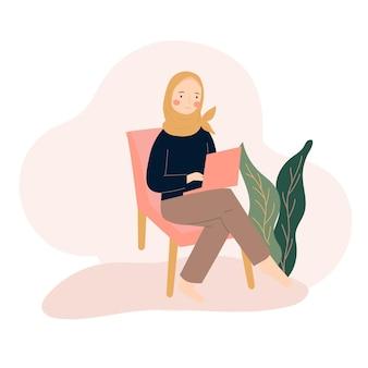 Hijab mujer usando laptop ilustración plana