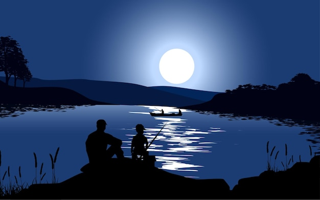El hijo y el padre pescando en el lago por la noche.
