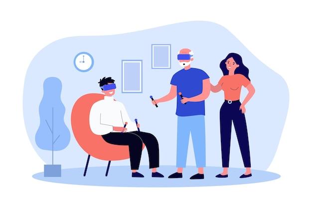 Hijos adultos que muestran gafas de realidad virtual de padre anciano. ilustración de vector plano. hijo y padre jugando juegos de realidad virtual, sosteniendo controladores. vr, tecnología, juego, concepto familiar.