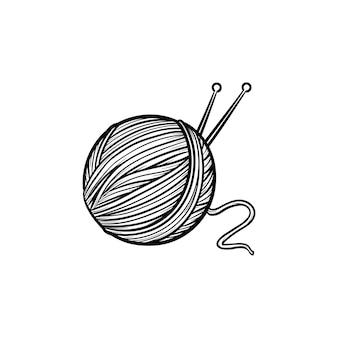Hilo con icono de doodle de contorno dibujado de mano de radios. ilustración de dibujo vectorial de costura para impresión, web, móvil e infografía aislado sobre fondo blanco.