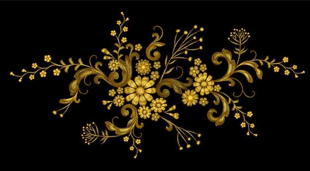 Hilo de oro realista vector bordado parche de moda