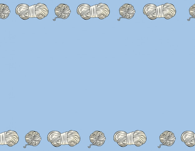 Hilos de hilo de algodón estilo cómico garabatos sin fisuras patrón de borde. acogedora postal de artesanía boho o maqueta de banner. carta formato decoración fondo textura azulejo. espacio para texto