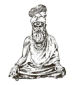 Hindú en traje nacional. monje espiritual indio meditando y punto de referencia o arquitectura