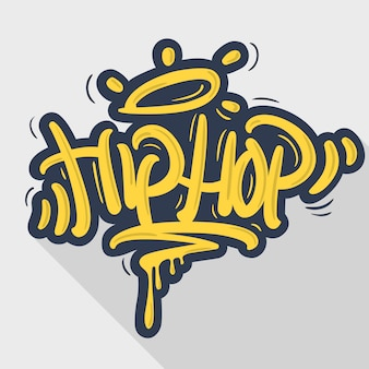 Hip hop tag graffiti style label lettering.