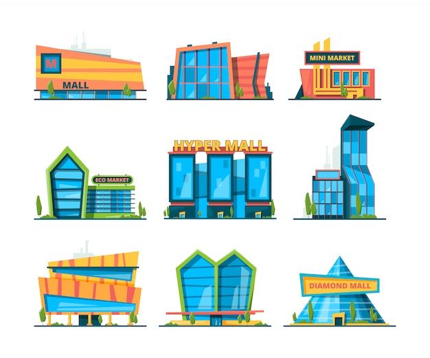 Hipermercado plano. centro comercial edificio comercial minorista y casas de distribución exterior de la colección de la tienda