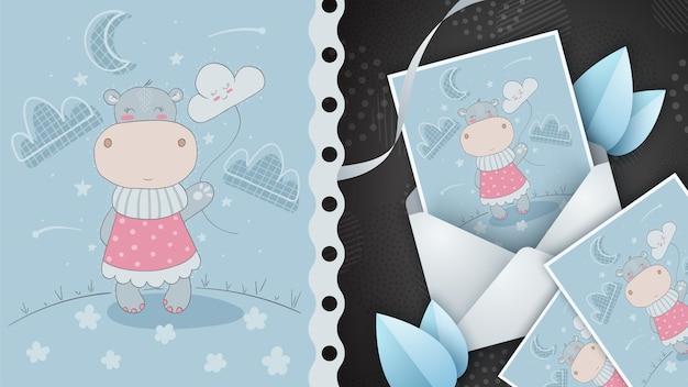Hipopótamo con idea de nube para tarjeta de felicitación