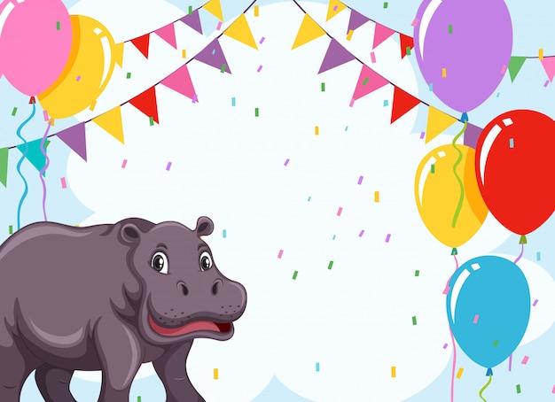 Un hipopótamo en plantilla de fiesta.