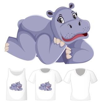 Hipopótamo en posición de colocación personaje de dibujos animados con muchos tipos de camisetas sobre fondo blanco.