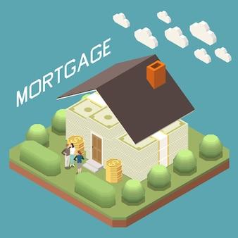 Hipoteca bancaria para comprar casa composición isométrica con familia frente a casa de billetes