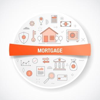 Hipoteca o hipotecas con concepto de icono con ilustración de vector de forma redonda o circular