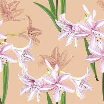 Hippeastrum flor de patrones sin fisuras ilustración