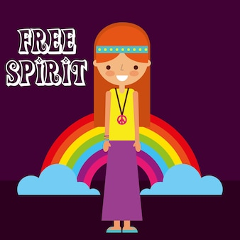 Hippie mujer arco iris retro espíritu libre