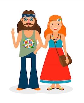 Hippie de los sesenta niña y hombre de flower power.