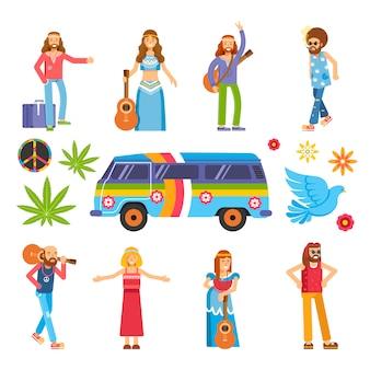 Hippies con instrumentos musicales, coloridas furgonetas y hojas de hierba.