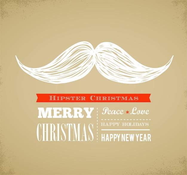 Hipster año nuevo y feliz navidad, ilustración vectorial