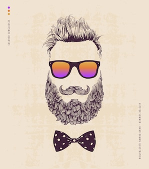 Hipster con barba bigote y gafas de sol
