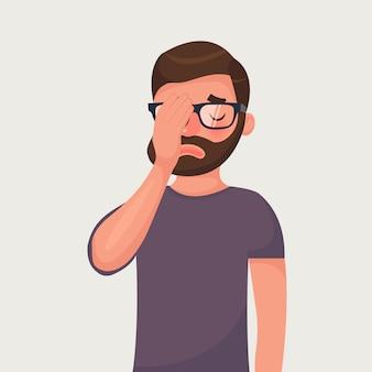 Hipster barba hombre en gafas hace un gestos facepalm.