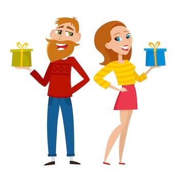 Hipster con barba en suéter que ofrece regalo de navidad y novia elegante