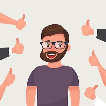 Hipster barbudo joven rodeado de manos mostrando pulgares arriba gesto.