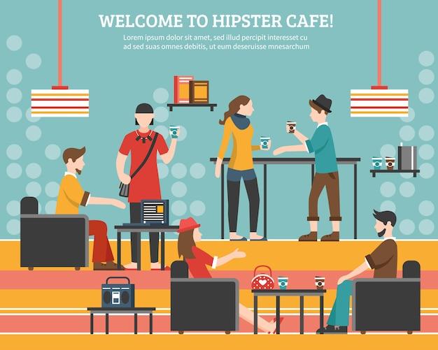 Hipster cafe ilustración plana