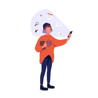 Hipster con carácter sin rostro de color plano de smartphone. generación z, estilo de vida en redes sociales. mujer joven con ilustración de dibujos animados aislados de teléfono móvil para diseño gráfico y animación web