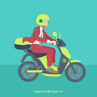 Hipster con casco montando moto eléctrico
