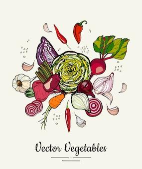 Hipster dibujado a mano verduras de colores