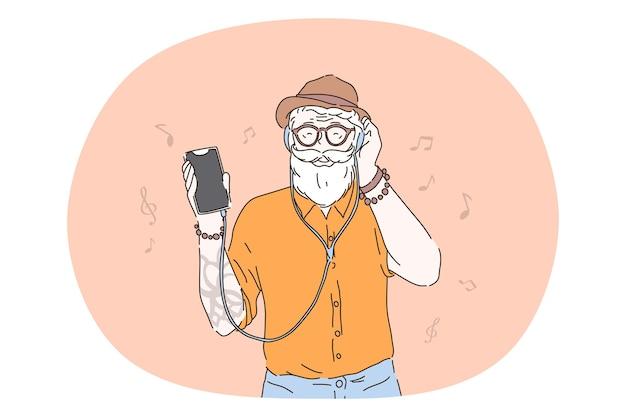 Hipster, escuchando música en concepto de auriculares.