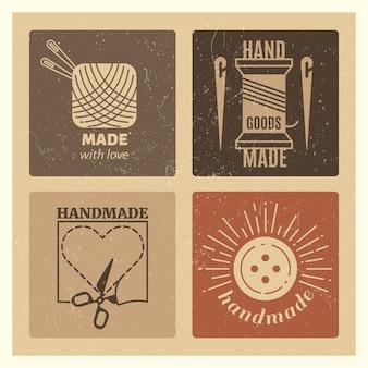 Hipster grunge insignias hechas a mano - conjunto de emblema de costura vintage