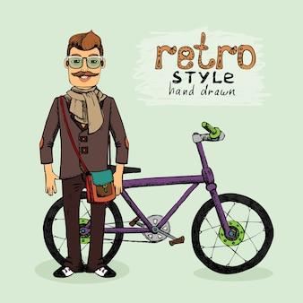 Hipster, joven, con, bicicleta, vector, ilustración, bosquejo