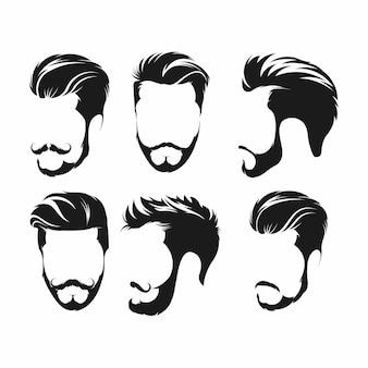 Hipster de pelo, bigotes y barbas