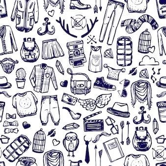 Hipster ropa de moda doodle sin patrón