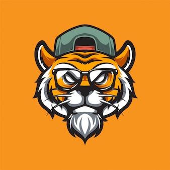 Hipster tiger e sport logotipo