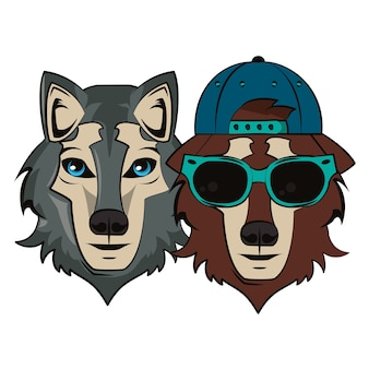 Hipster wolfs cool sketch